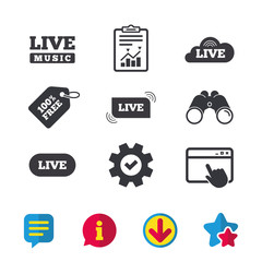 Live music icons. Karaoke or On air stream symbols. Cloud sign. Browser window, Report and Service signs. Binoculars, Information and Download icons. Stars and Chat. Vector