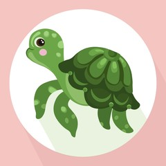 turtle background Vector cute cartoon character