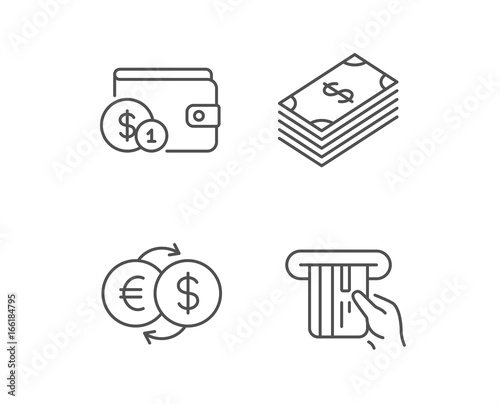 Money Cash And Wallet Line Icons Credit Card Currency Exchange Coins Signs