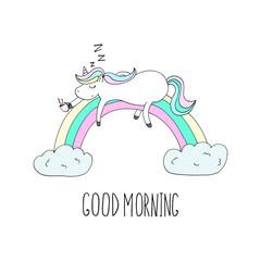 Good morning card. Cute Unicorn Unicorn asleep on the rainbow with coffee. Printable templates