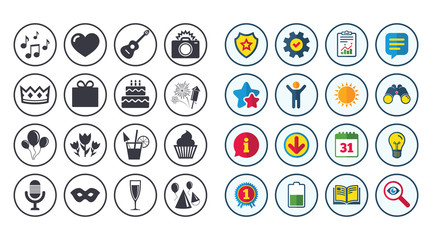 Set of Celebration, Birthday and Party icons. Fireworks, Air balloon and Champagne glass signs. Gift box, Cake and Photo camera symbols. Music and cocktails. Calendar, Report and Book signs. Vector