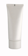 White plastic single-color tube for cosmetics without inscriptions
