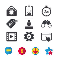Photo camera icon. Flash light and video frame symbols. Stopwatch timer 2 seconds sign. Human portrait photo frame. Browser window, Report and Service signs. Binoculars, Information and Download icons