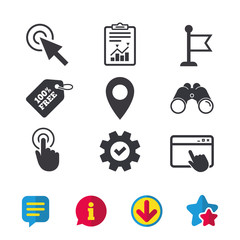 Mouse cursor icon. Hand or Flag pointer symbols. Map location marker sign. Browser window, Report and Service signs. Binoculars, Information and Download icons. Stars and Chat. Vector