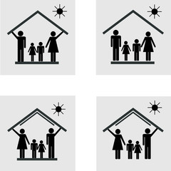 Protection of family in house, set of icons