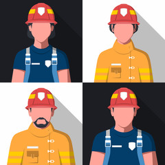 Avatars of fire department workers. Man and woman in fireman uniform. Flat vector firefighters.