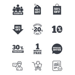 Sale discounts icon. Shopping, clients and speech bubble signs. 20, 30, 40 and 50 percent off. Special offer symbols. Customer service, Shopping cart and Report line signs. Vector
