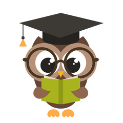 cute brown owl with book