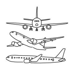 Airplane. hand drawn. line drawing. vector illustration. Cartoon.