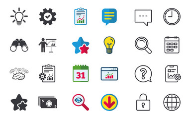 Presentation billboard, brainstorm icons. Cash money and lamp idea signs. Man standing with pointer. Scheme and Diagram symbol. Chat, Report and Calendar signs. Stars, Statistics and Download icons