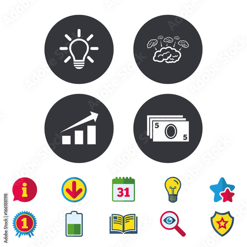 Chart with arrow brainstorm icons cash money and lamp idea signs chart with arrow brainstorm icons cash money and lamp idea signs scheme and ccuart Choice Image
