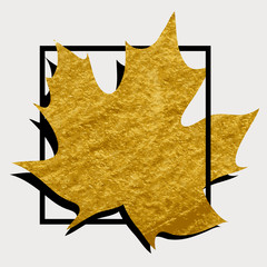 Gold maple leaf in a black square. Background for poster. Brush stroke.