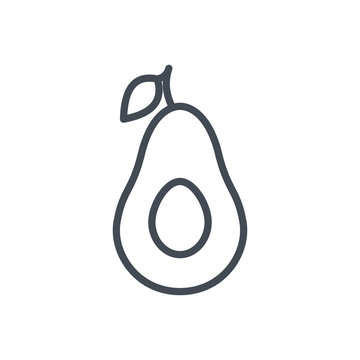 Fruits food avocado slice line icon