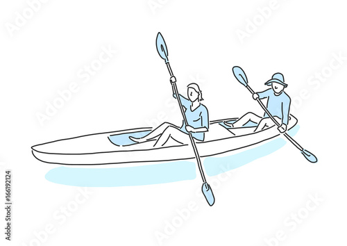 People On The Beach Kayak Summer Time Hand Drawn Line Drawing