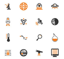 Faculty of astronomy icons set