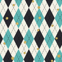 Seamless blue argyle pattern with chaotic golden dots. Traditional diamond check print. Vintage seamless background.