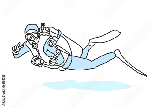summer sports scuba diving in variety poses hand drawn line