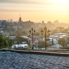 beautiful sunset view of Tbilisi from Narikala Fortress in Georgia