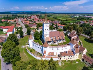 Aerial view of Harman Saxon Fortified Church in the village of Harman near Brasov Transylvania Romania