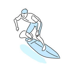 summer sports. surfing in variety poses. hand drawn. line drawing. vector illustration.