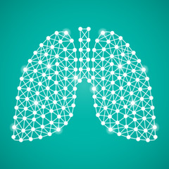 Human Lungs Isolated On A Green Background. Vector Illustration.Pulmonology. Creative Medical Concept