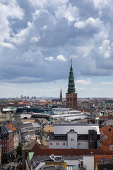 Panorama aerial view of Copenhagen, Denmark, Europe