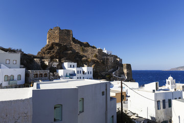 Castle in Mandraki village on Nisyros island in Dodecanese island group, Greece.