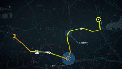 City map navigation concept with POI - detailed  3d illustration