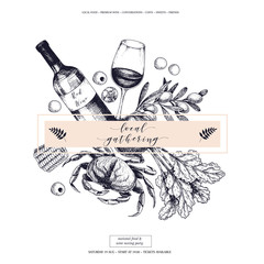 Vector hand drawn banner local gatherings. Frame composition. Wine, seafood, cheese, chicken meet, farm vegetables olive, beetroot, corn. .