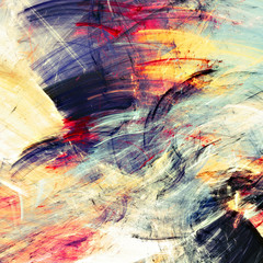 Bright artistic splashes. Abstract painting color texture. Modern futuristic motion multicolor pattern. Multicolor dynamic background. Fractal artwork for creative graphic design