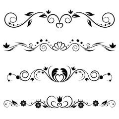 Set of decorative swirls elements, dividers, page decors. Hand drawn vector ornaments