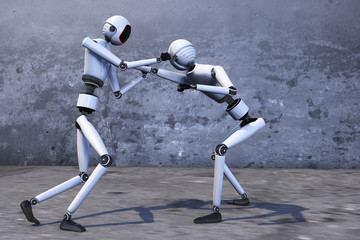 A robot combat scene and martial arts