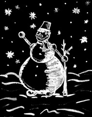 Watercolor hand drawn picture of snowman