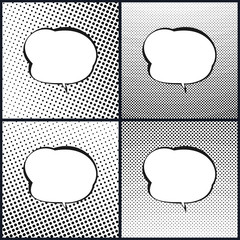 Set of Retro Style Speech Bubble , Pop Art , White Background with Black Dots , Gradient from Upper Right to Bottom Left and Vice Versa, Gradient Down Up and Vice Versa, Vector Illustration