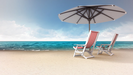 sandy beach with two seats and sunshade