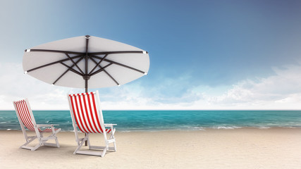 sandy beach with two seats and parasol