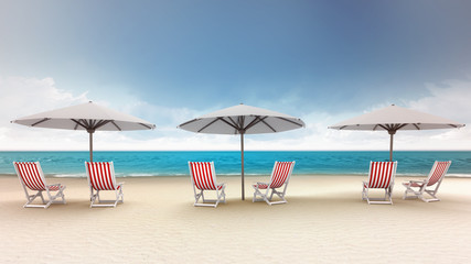 several deck chairs with umbrellas on the beach