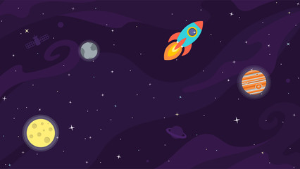 Space flat vector background with rocket, spaceship, moon, Jupiter, satellite, planets and stars. Space for your text.