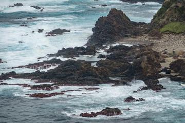 Volcanic rocks, castle shape, atlantic ocean, azores islands