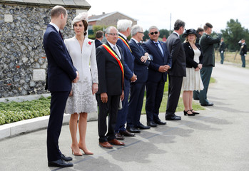 Britain's Prince William and Catherine the Duchess of Cambridge arrive at Tyne Cot cemetery for commemorations for the 100th anniversary of the battle of Passchendaele near Ypres in Belgium