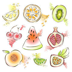 Exotic fruit set. Vector illustration, isolated on white background. Watermelon, pomegranate, kiwi, lemon and other juicy fruits.
