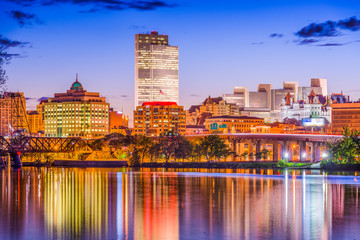 Albany, New York, USA skyline on the river.
