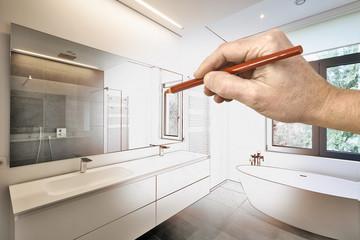 Drawing renovation of a Luxury modern bathroom