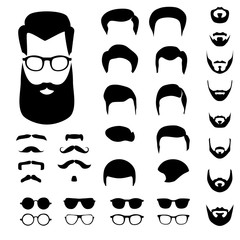 Creation vector set for hipster avatar with different haircuts, mustaches, beards and glasses isolated on white background.