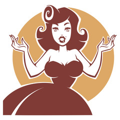 vector portrait of surprised pin up lady