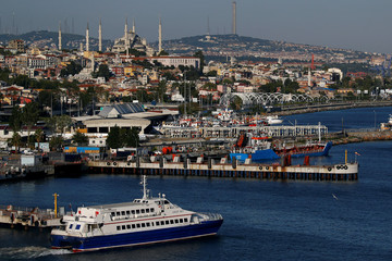 A seabus departs from Yenikapi terminal in Istanbul