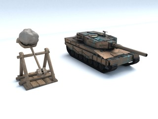 3D illustration of catapult and tank