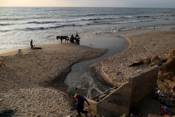 Wastewater is discharged into the Mediterranean Sea due to power cut in Beit Lahiya town in the northern Gaza Strip