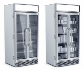 Refrigerated display case is empty and with the goods. 3d image, isolated on white.