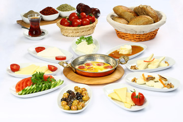 Turkish Breakfast  Table - Fried eggs with sucuk
